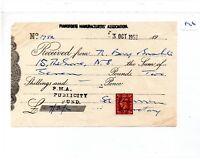 EPHEMERA -826- SMALL-  PIANOFORTE Mfg ASSOC. PUBLICITY FUND.- RECEIPT - OCT 1952