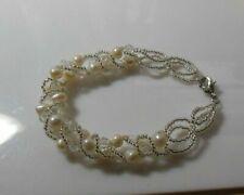 Pearl & Bead Bracelet Sterling Silver Clasp