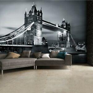 London Bridge Wall Mural Black and White Photo Wallpaper -  3.15 x 2.32 m