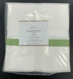 "Pottery Barn Morgan Banded Bed Skirt, Cal King, White/Green Apple Band, 14"" Drop"