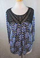 LUCKY BRAND Womens Peasant top Blouse, Size L, Crochet Detailed, Boho Print E712