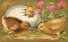Easter~Chick Peeks Out Of Egg~Sees Chicks In Worm Tug Of War~Red Clover~Gold~Emb
