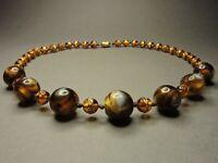 Vintage Antique Bohemian Gold Foil and Lava Foil Glass Round Bead Necklace Knott