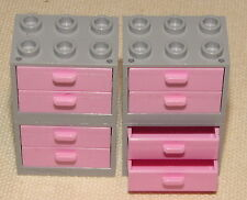 LEGO LOT LIGHT PINK DRAWERS AND BLUISH GREY CUPBOARDS