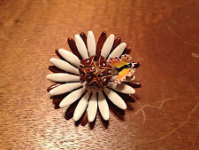 Vintage Original by Robert Brown & White  Enamel Flower w/ Butterly Pin / Brooch