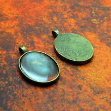 10 QTY - PRO SMALL OVAL ANTIQUE BRASS PHOTO PENDANT TRAYS BEZEL JEWELRY & GLASS