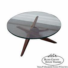 Mid Century Walnut Cubist Splayed Leg Round Glass Top Coffee Table