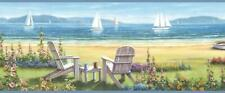 Wallpaper Border Blue Seaside Cottage Sailboats on the Shore Beach
