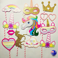 Girl Kids Unicorn pony rainbow Birthday Party Selfie Photo Booth Prop Game Signs