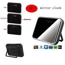 32GB HD Alarm Clock Hidden Spy Camera Mirror Table Clock DVR + Remote Control