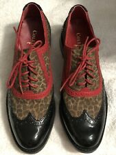 Cole Haan Women's 6.5 Flat Lace Loafers Leopard Print Red Leather Black Patent