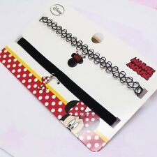 2pc set Disney Minnie Mouse Girls Lady's Choker Necklace Red Bow Pendants BNWT
