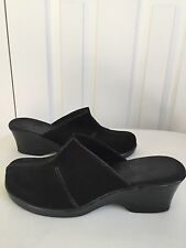 Clark's Black Suede Slip On Wedge Shoes - Size 9