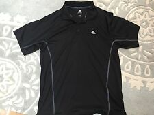 Men's Black Adidas Polo Shirt Gray Seaming Large Excellent