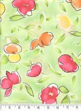 Orange, Yellow and Green Blossoms Quilt Fabric - 1 Yard