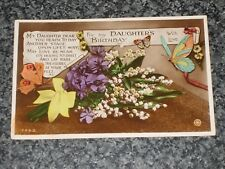 FOR MY DAUGHTERS BIRTHDAY WITH LOVE  FLOWERS 1929  OLD POSTCARD  VINTAGE  VGC  Q