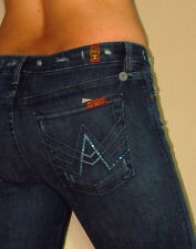 Seven 7 For All Mankind $215 Crystal A-Pocket Flare Jeans Vintg Dark Distress 25