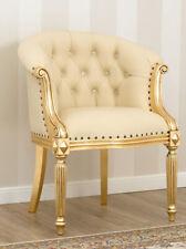 Poltrona Isabelle stile Barocco Francese foglia oro ecopelle champagne bottoni C