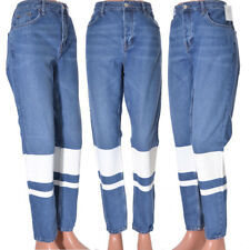 Hayden Denim jeans by Topshop White Stripe Boyfriend wide leg Size 12 L34