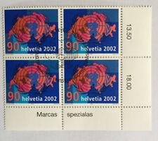 4 timbres suisses YT CH1740, Zum CH1059 se tenant oblitérés 1er jour, 2002
