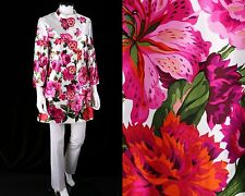 ANDREW GN 2 PC WHITE PINK ROSE FLORAL PRINT LONG JACKET BLAZER PANT SUIT SET S