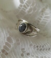 Natural 925 Sterling Silver Sapphire Ring Size 8
