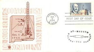 C69 8c Robert H. Goddard, 1st Roswell Art Center cachet in brown  [091721.1252]