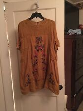 Free People Yellow Perfectly Victorian Embroidered Shift Dress