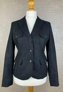 FRANCO CALLEGARI Damen Gr. 40 Blazer 100% Leinen Jacke schwarz Jacket Flachs 41A
