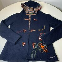 desigual jacket size large color navy blue quilted hood toggle closure floral