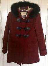 Burberry Blackwell Fur Trim Wool Duffle Coat Red Size US6