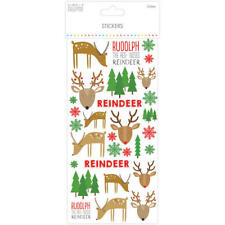 Reindeer Stickers - Christmas Stickers - Rudolph Red Nose - Glitter Snowflake