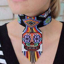 Choker Necklace, Huichol Ethnic Beautiful Handmade Mexican Sugar Skull