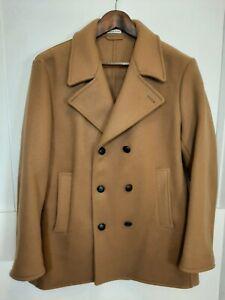 RARE Tomas Maier Wool Peacoat COAT JACKET XL Womens Made in Italy tan