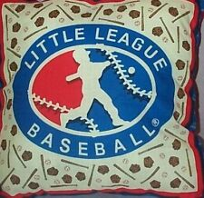 """Home Decor' Pillow Little League Baseball 17"""" Inch Square Mitts Bats Blue Red"""