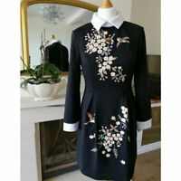 New Ted Baker ELLAN Collared Dress Black Embroiderd 2