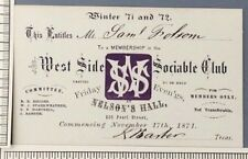 1871-2 West Side Sociable Club Cleveland OH Membership Card Nelsons Hall Envelop