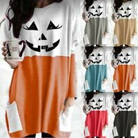 Women Halloween Ghost Face Print Patchwork Shirt Costume Long Sleeve Tops Blouse