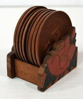 Vintage Hand Carved Japanese Wooden Coasters And Holder
