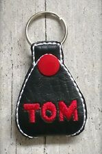 Personalised Guitar Picks holder key ring.Chose an initial or the Lucy /Tom font