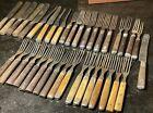 Antique Civil War Era Bone & Wood Handle Knives 3 Prong Forks Flatware Lot Of 38