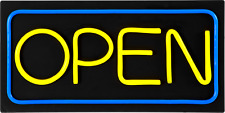 Large Led Open Sign / Yellow & Blue / 24x12 / Very Bright! (Bd24-6) Plus Remote!
