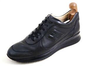 Hogan Sneakers Black Leather Mens Shoe Size US 10 EU 43 $520