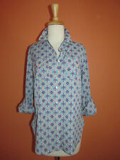 Talbots Size S Blue Mosiac Tile Print Convertible Sleeve Camp Shirt