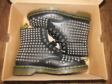 NEW DR MARTENS SMOOTH BLACK SPIKED BOOTS sz UK 11 / US 12 chrome studded IN BOX