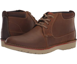 New in Box Clarks Men's Vargo Mid Ankle Boots Dark Tan Leather 11, 11.5, 12, 13