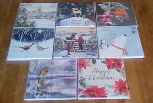 8 x christmas cards assorted designs new in pack 16.5cm x 16.5cm