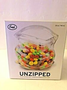 Fred & Friends Unzipped Glass  Bag Great  Kitchen or Desk Candy or Snack Dish