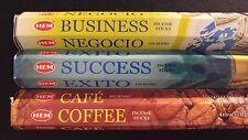 BUSINESS Success Coffee 60 HEM Incense Sticks 3 Scent Sampler Gift Set