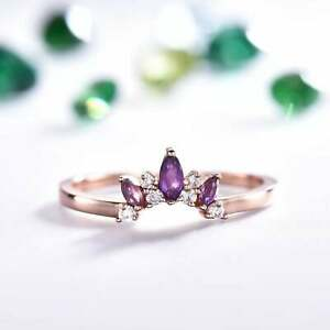 Natural Amethyst Cluster Copper Metal Stackable Engagement Ring For Girls Womens